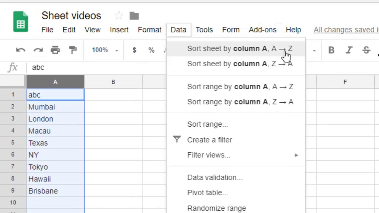 How to put data in Alphabetical order in Google sheet ...