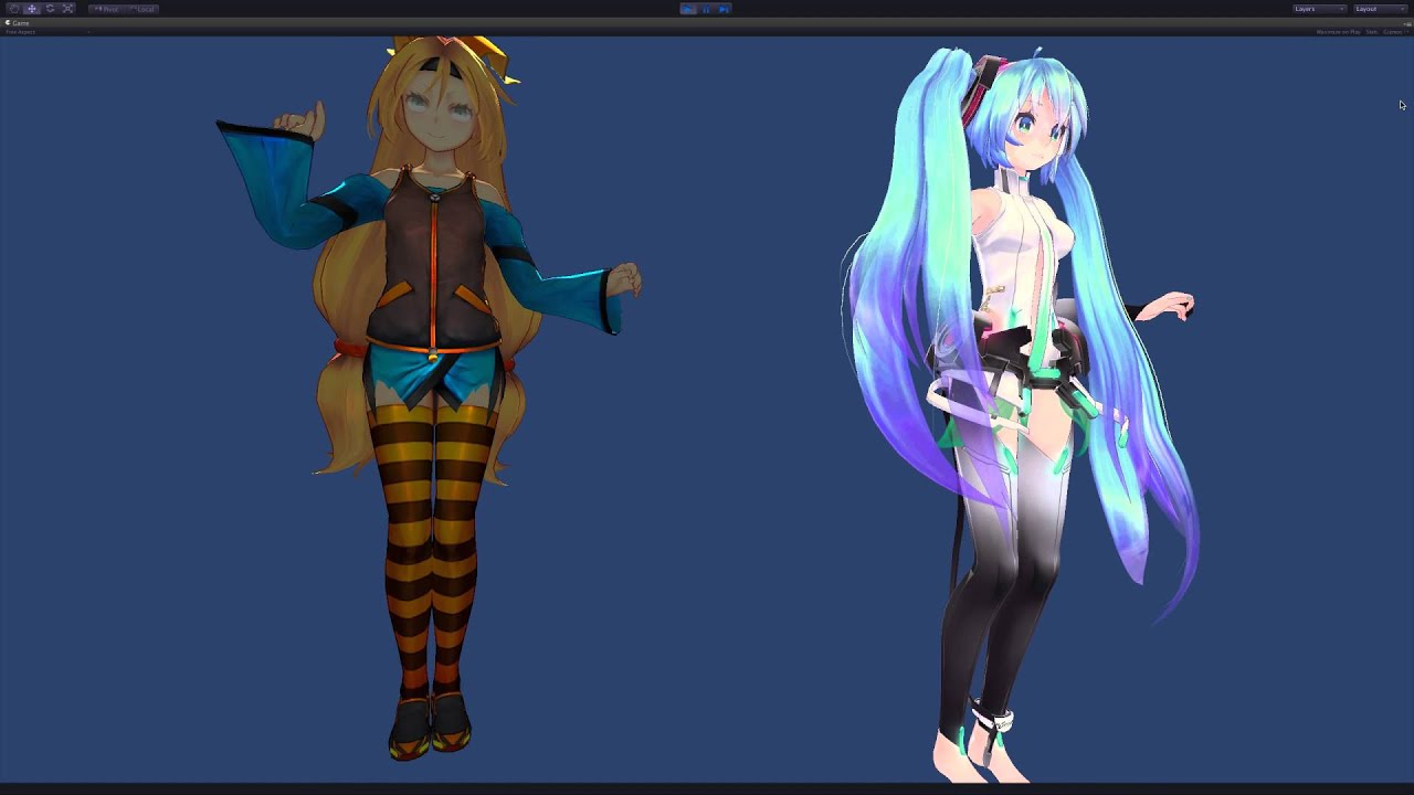 Cartoon Characters Unity : Miku and unity chan youtube