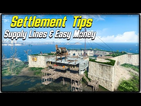 Fallout 4 Settlement Tips #2 - SUPPLY LINES EXPLAINED, BEST & EASIEST MONEY METHOD & MAX POPULATION!