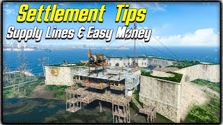 Fallout 4 Settlement Tips 2 - SUPPLY LINES EXPLAINED, BEST EASIEST MONEY METHOD MAX POPULATION