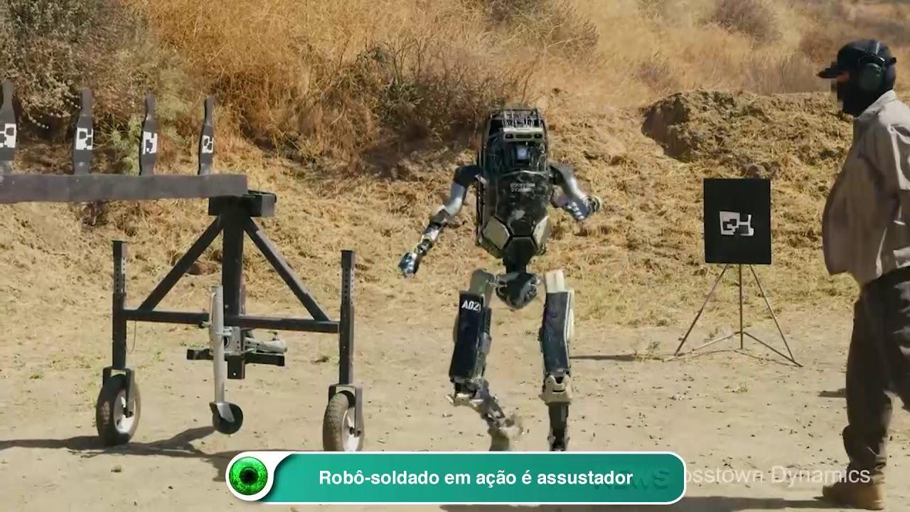 Simulação em computação gráfica de robô-soldado em ação é assustadora