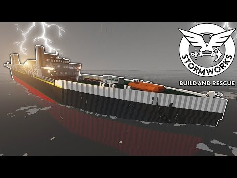 MERCHANT SHIP SPLITS & SINKS IN A STORM! - Stormworks Gameplay - Sinking Ship Survival