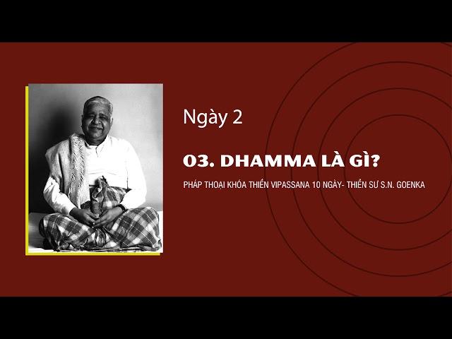 03. DHAMMA LÀ GÌ- NGÀY 2 - S.N. Goenka - Pháp Thoại Khóa Thiền Vipassana 10 Ngày