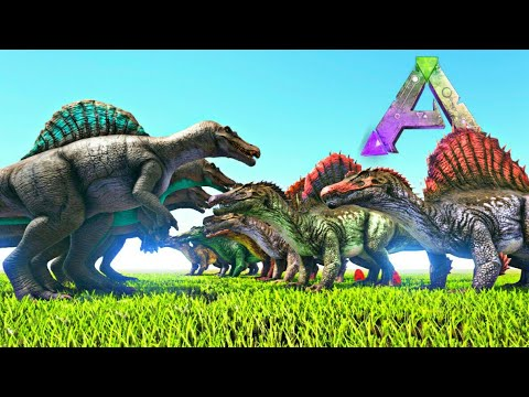 Ark Survival Evolved: 8 Spinosaurus Vs 8 Spinos Jurassic Park 3! [Treta Jurassica #5] thumbnail