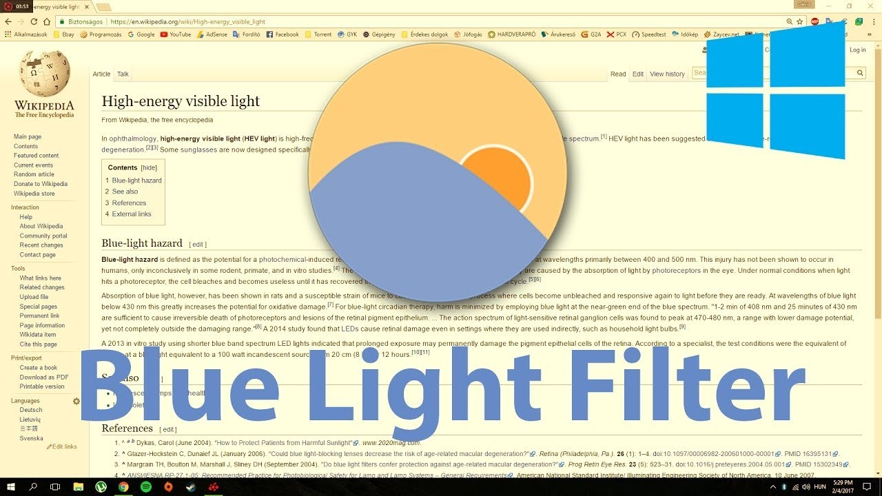 How To Turn On Blue Light Filter In Windows 7 8 10 Youtube