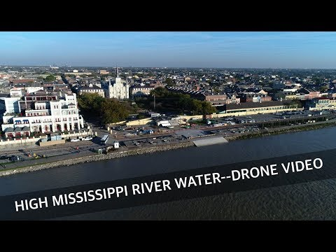 Drone video shows high Mississippi River water at New Orleans French Quarter