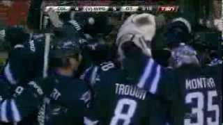 Blake Wheeler 5-4 OT Goal vs Avalanche [March 19 2014]