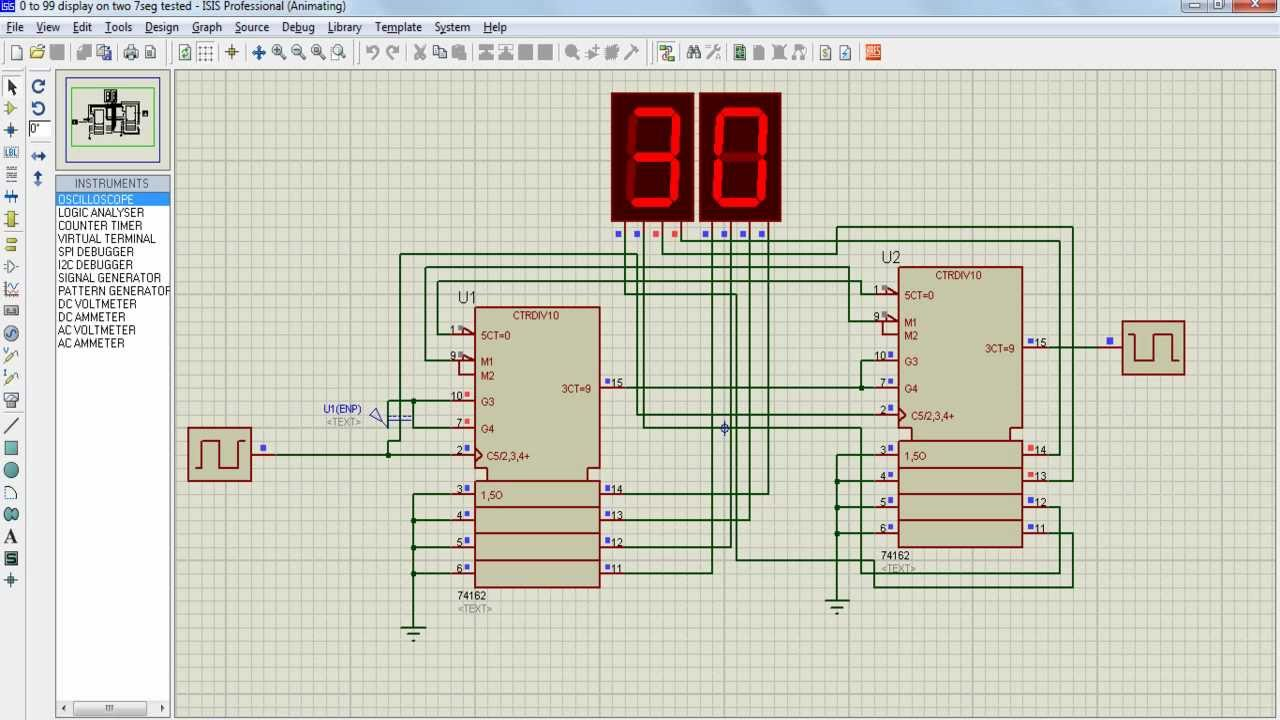 00 To 99 Display On Seven Segment Proteus Simulation Youtube Counter Circuit With 7
