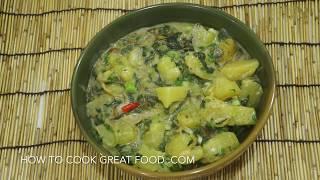 Asian Potato Spinach & Coconut Stew Recipe - 100% Vegan