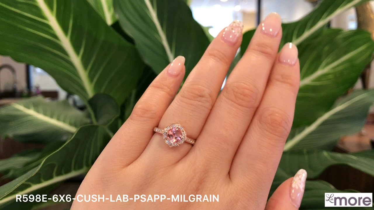 8d3a5ffadc9 Mini Vintage Floral Peach Sapphire Engagement Ring Rose Gold Milgrain Band