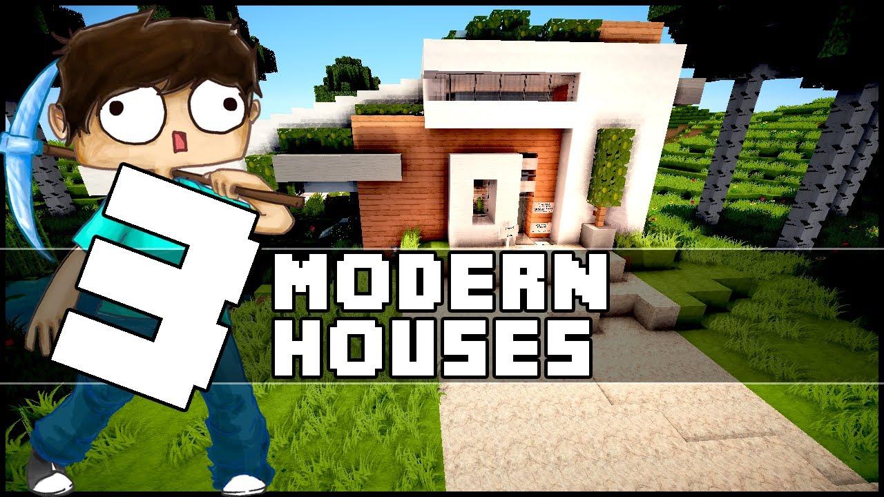 Minecraft 3 small modern houses w emosnail youtube for Minecraft modern house 9minecraft