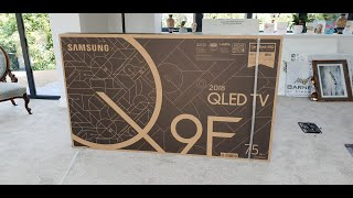 "2018 75"" Q9 QE75Q9FN Unboxing and No-Gap Wall Mount install"