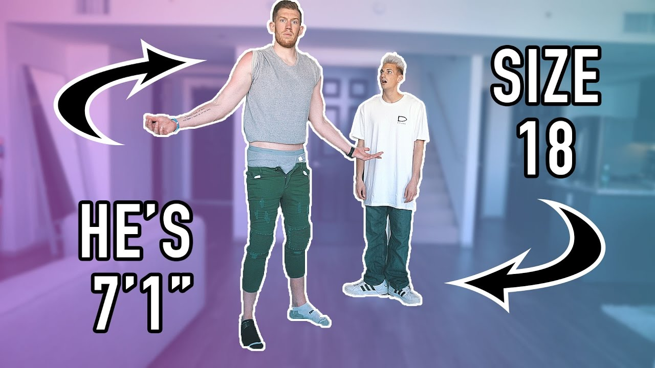 SWITCHING CLOTHES WITH A 7 FOOT TALL GUY IN PUBLIC! - YouTube
