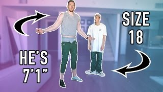 SWITCHING CLOTHES WITH A 7 FOOT TALL GUY IN PUBLIC!