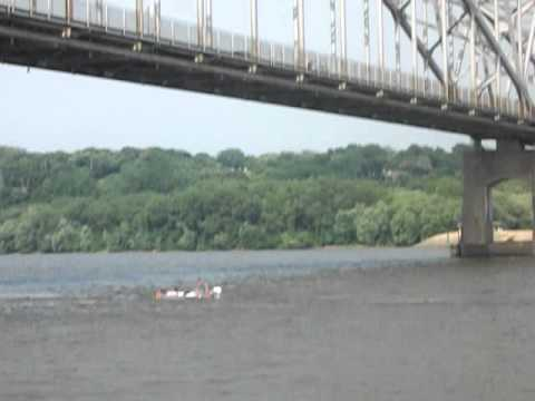 Crazy 60 Foot Jump in to River from East Dubuque Bridge