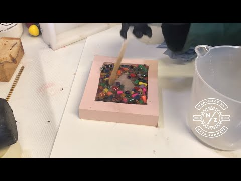Making -a youtube play button -using pencils and resin