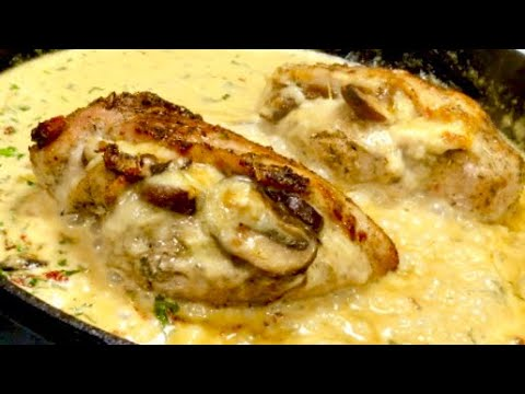 Mozzarella & Mushroom Stuffed Chicken In Creamy Tuscan Sauce