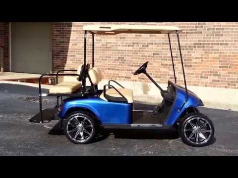 Viper Blue Metallic Ezgo Pds Golf Cart Custom 14 Rims With Low Profile Tires No Lift Required Youtube