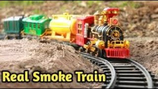 Big Classic Toy Train Set with Real Smoke for Kids , Unbox & Play