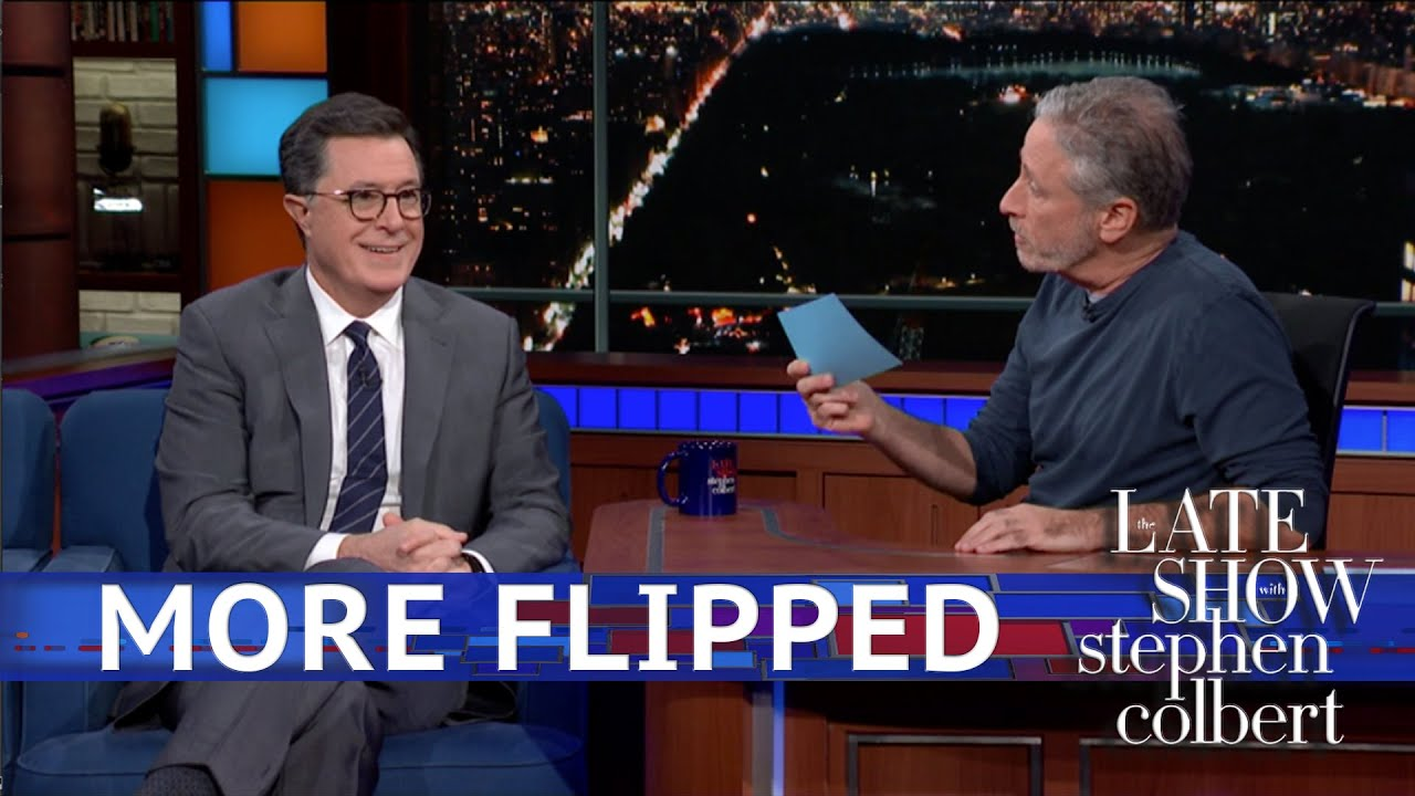 Jon Stewart asks Stephen Colbert about his transition to the Late Show, or how he went from being Stephen Colbert to being Stephen Colbert.