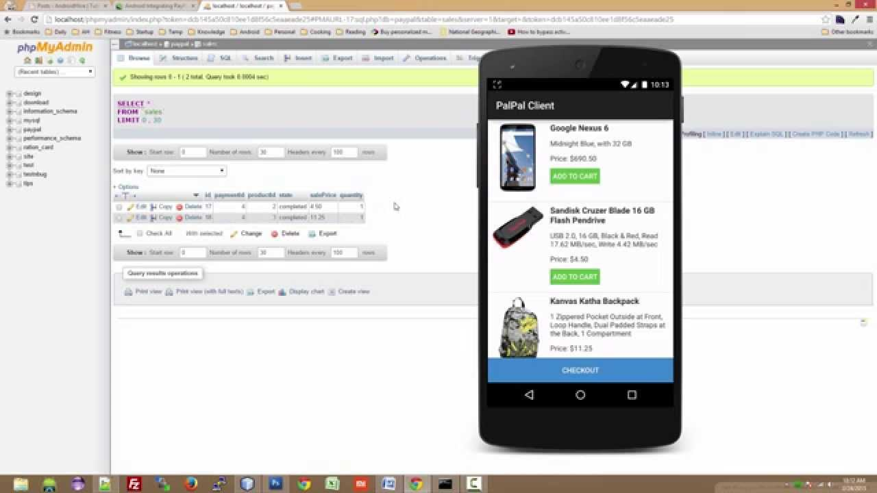 Android Integrating PayPal using PHP, MySQL - Part 1