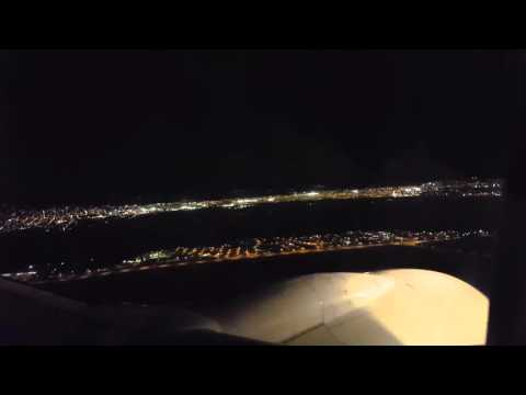 Trinidad Night lights from Airplane and Landing