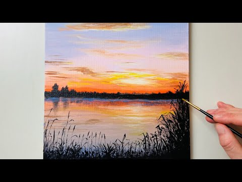 Sunrise Painting / Acrylic Painting for Beginners #80