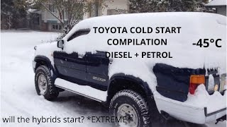Full Toyota extreme cold start compilation (-45*C & more) Siberia,Canada & more - PETROL & DIESEL