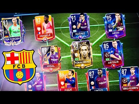 FIFA MOBILE 19! BEST BARCELONA TEAM With Icon Ronaldinho, Messi ,TOTY Masters, Ter Stegen,Suarez thumbnail