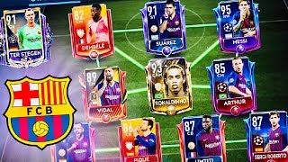 FIFA MOBILE 19! BEST BARCELONA TEAM With Icon Ronaldinho, Messi ,TOTY Masters, Ter Stegen,Suarez