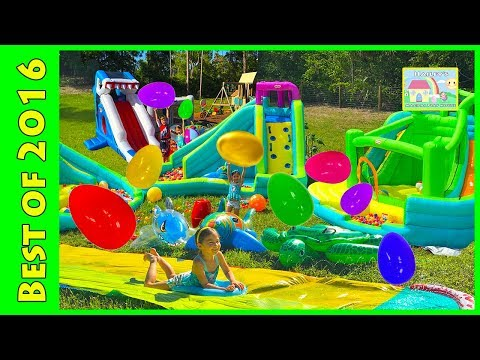 Huge Eggs Surprise Toys Challenge & Golden Egg Hunt on Water Slide for Kids Compilation & Frozen