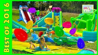 Huge Eggs Surprise Toys Challenge & Golden Egg Hunt on Water Slide for Kids Compilation!