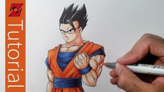 How to Draw Mystic  Gohan - Step by Step Tutorial