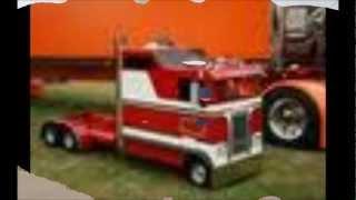 Mini big rig semi trucks Peterbilt and kenworths.