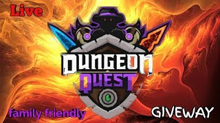 CARRYING IN DUNGEON QUEST!! GIVEAWAY!! FAMILY FRIENDLY ROBLOX LIVE STREAM!!