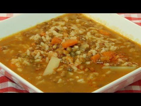Receta de lentejas con arroz y verduras