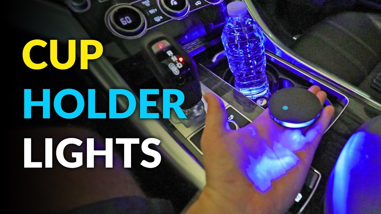 Bearfire Car Logo LED Cup Pad cup holder light USB Charging Mat Luminescent Cup Pad LED Mat Interior Atmosphere Lamp Decoration Light Range rover