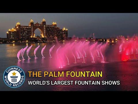 The palm fountain dubai   The pointe fountain 2021   The pointe   World's largest fountain