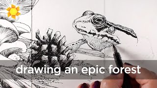 Draw an epic foŗest in pen and ink