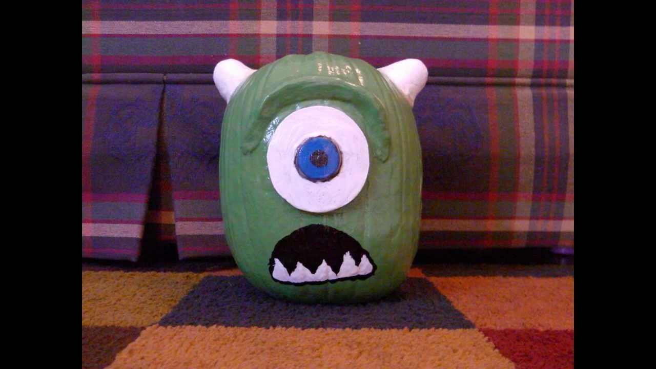 Pumpkin Painting Painting A Mike Wazowski Pumpkin From Monsters Inc University Youtube