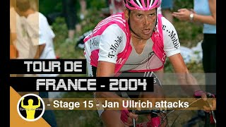 Tour de france 2004 - stage 15 valréas to villard-de-lans, 180.5 km.eventful stage, with jan ullrich attacking from far away. michael rasmussen and richa...