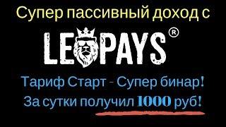 Супер пассивный доход с leopays! Тариф Старт - Супер бинар! За сутки получил 1000 руб!