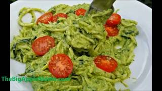 How to make Creamy Avocado pesto with Zoodles (Low-carb spiralized recipe)