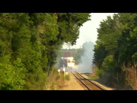 NS 9345 BRIDGE on FIRE!!! at Trinidad, Tx. 05/29/2011 ©