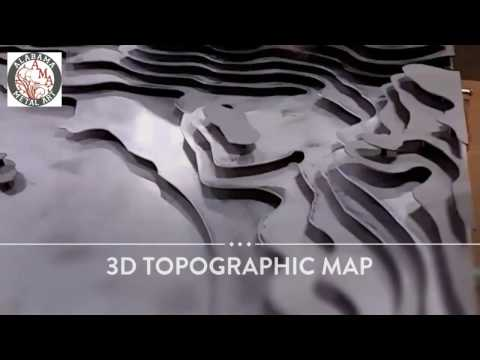 Hospitality Art 3D Topographic Map - artwork for hotel lobby reception desk