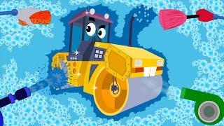 Road Roller | Car Wash For Children | Vehicle Videos For Kids