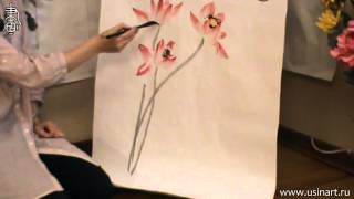 Уроки по рисованию лотоса 荷花 в китайской живописи и живописи у-син Урок 1 Цветок лотоса