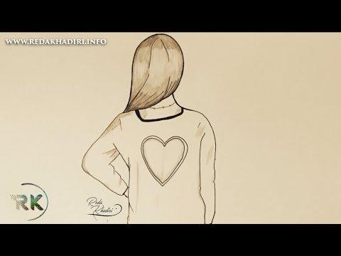 Drawing 47 Comment Dessiner Une Fille En Robe Avec Un Coeur Moins D 2 Minute Youtube
