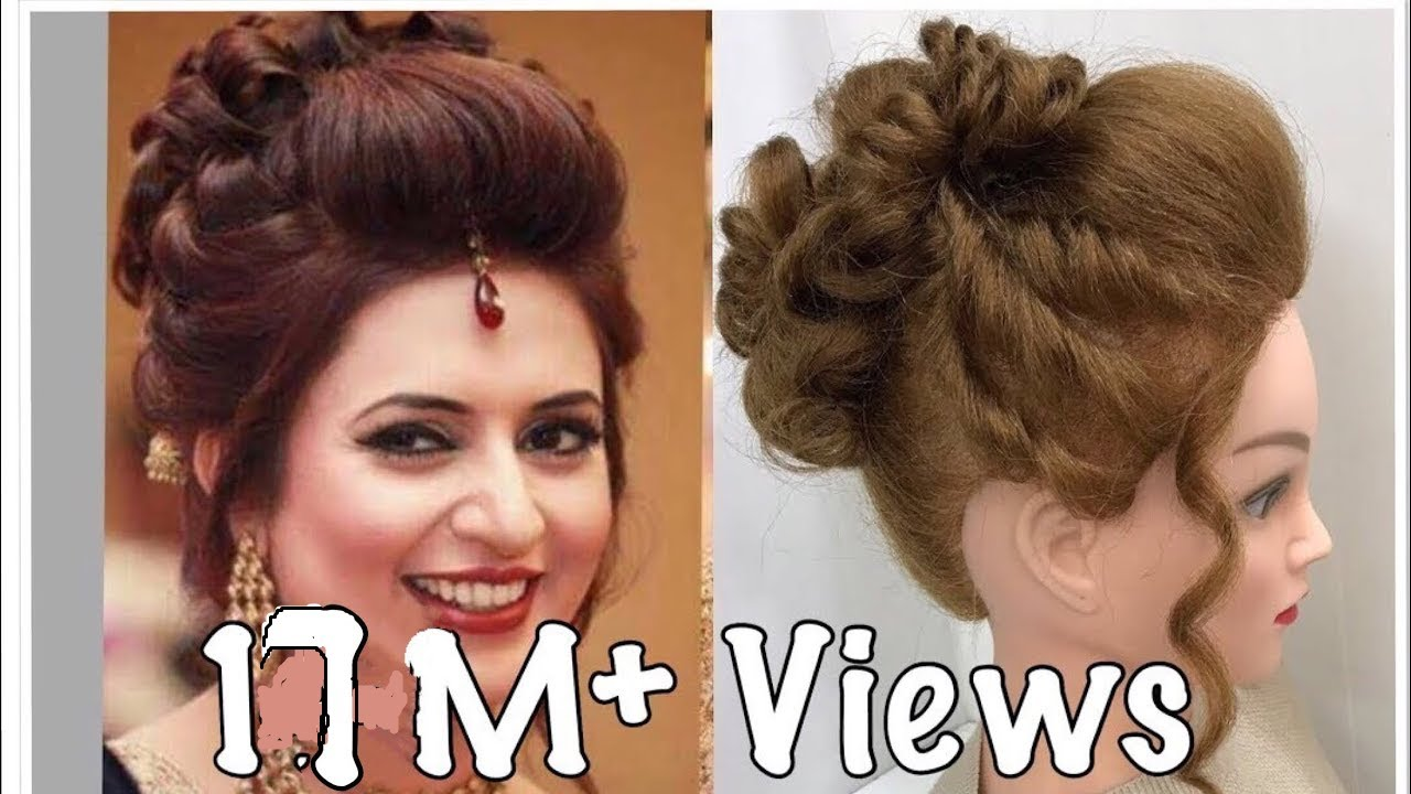 3 Beautiful Hairstyles With Puff Easy Wedding Hairstyles Youtube