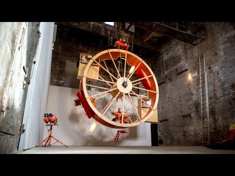 """For ten days in a Pierogi Gallery space in Williamsburg, Brooklyn, artists Ward Shelley and Alex Schweder lived in """"a giant hamster wheel…"""